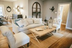 How gorgeous is this living room from Fixer Upper? Copy this look with my 50+ fixer upper copycat items!