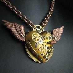 Steampunk Pendant Vintage Gears Clock Parts Artisan Handmade Gift Love Heart Art | eBay
