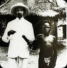 A child victim of Belgian atrocities in Congo stands with a missionary (probably Mr Wallbaum), Congo, ca. 1890-1910 Leopold II of Belgium - Wikipedia, the free encyclopedia