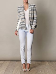 Rebecca Taylor Basketweave tweed chain-trim jacket (151214)