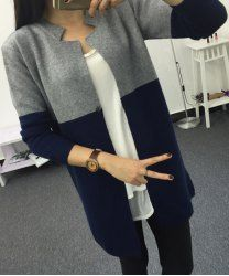 Casual Color Block Long Sleeves Cardigan For Women (GRAY,ONE SIZE(FIT SIZE XS TO M)) | Sammydress.com Mobile