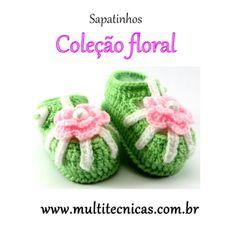 Sapatinho - Coleção Floral  Verde com flor  Feito em crochê, com lã para bebê.  Cor: verde e rosa     Tamanho: 2 a 6 meses R$ 25,00