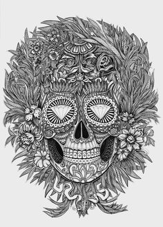 Mexican skull by Alex Konahin, via Behance