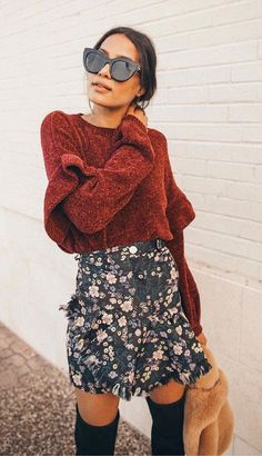 #winter #outfits women's red crew-neck crop-top sweater. Click To Shop This Look.