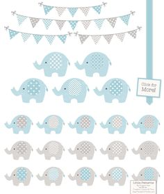 Blue and Grey Elephant Clipart by Amanda Ilkov on Creative Market