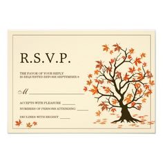 """Fall Wedding RSVP Cards With Autumn Tree 3.5"""" X 5"""" Invitation Card"""