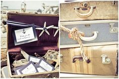 vintage suitcases for the card/gift table