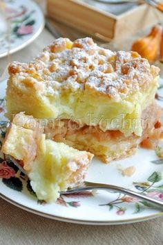 Szarlotka z budyniem / Putting Apple Pie --- Pudding Desserts, Cookie Desserts, Sweet Desserts, No Bake Desserts, Delicious Desserts, Polish Desserts, Polish Recipes, Pumpkin Cheesecake, Cheesecake Recipes