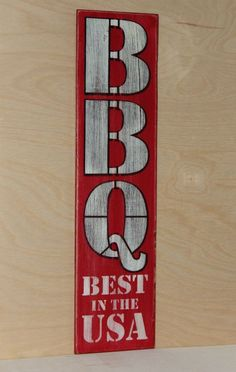 BBQ BEST IN THE USA sign Handmade rustic red white and black bar mancave decor #Handmade #Americana