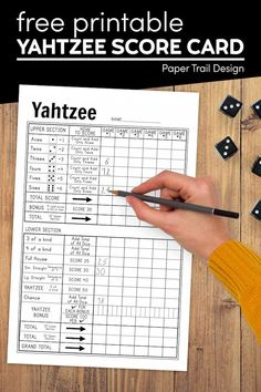 Use our free printable yahtzee score card so you can have a fun game of yahtzee with friends and or family.