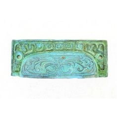 Old fashioned Tiffany Green Brass BIN PULL victorian vintage replica hardware for restoration