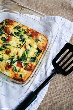 Spinach, Bacon and Feta Egg Bake