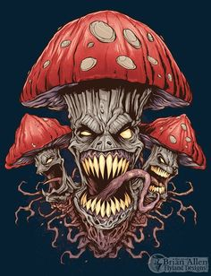 evil art mushroom art cool tattoos unusual art dark art mushrooms ...