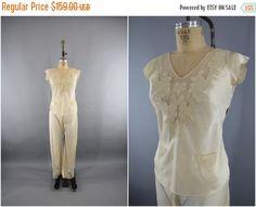 SALE  Vintage 1920s Silk Pajamas / 20s Silk PJs / by ThisBlueBird