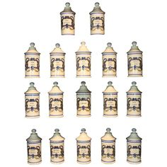 rare set of 17 french porcelain apothecary jars from a unique collection of antique and modern apothecary jars and objects at apothecary furniture collection