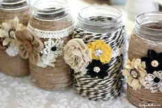 diy burlap flowers and yarn glass mason jars with button - beads, burlap flowers crafts
