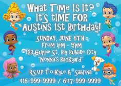 Items similar to Bubble Guppie birthday party theme invitation on Etsy Birthday Party Themes, Birthday Cards, Bubble Party, Big Backyard, Flag Banners, Creative Design, Smurfs, Rsvp, Bubbles