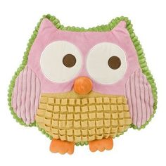 cute, colorful, textured owl pillow