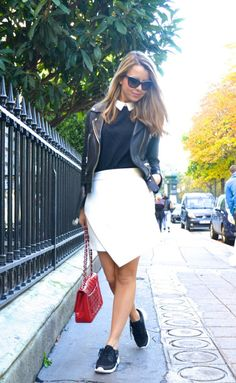 Try going preppy with a collared top and wrap over skirt. Via Caroline Louis…