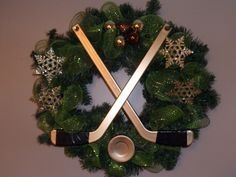 Hockey wreath Hockey Crafts, Hockey Decor, Hockey Wife, Christmas Wreaths, Christmas Decorations, Hockey Season, Holiday Crafts, Holiday Decor, Christmas Interiors