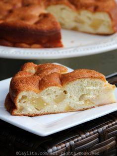 Pastel de manzana - Receta fácil - Laylita.com French Apple Cake, Easy Apple Cake, Apple Cake Recipes, Easy Cake Recipes, Almond Recipes, Apple Cakes, Easy Homemade Cake, Homemade Breads, Christmas Food Photography