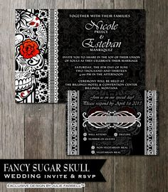 Sugar Skull Wedding Invitation DIY Black And White Fancy Sugar Skull Day of the Dead-Dia De Los Muertos- Wedding Invite & RSVP