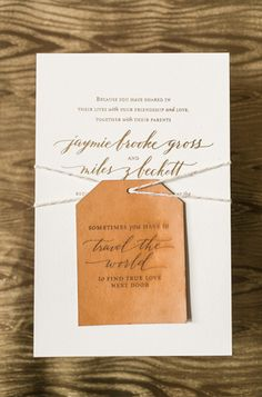 Calligraphy Gold Foil Wedding Invitations Atheneum Creative & Anne Robin Calligraphy