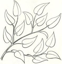 How to draw a branch with leaves step by step