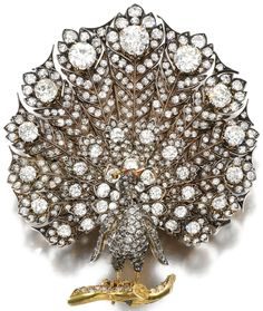 CollectingFineJewels: Impressive 19th Century Diamond PEACOCK brooch