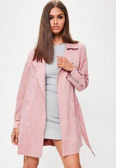 9b1cf2862e8203 Pink Faux Suede Belted Trench Coat