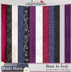 Black Tie Event digital scrapbooking papers from Designs by Shelly Marie. This pack coordinates with the May 2016 Lovely Colors at With love Studio. You can mix and match this with all the other Lovely Color Packs to create gorgeous digital and hybrid scrapbooking layouts.