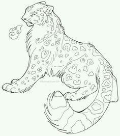 Snow leopard line art