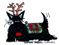 Scottish Terrier Reindeer : Tail End Productions by Cherry ONeill Irish Terrier, Scottish Terriers, Corgi Pembroke, Wire Fox Terrier, Pet Treats, New Puppy, Westies, Dog Art, Scottie Dogs