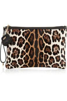 Dolce & Gabbana - Sequined and leopard-print calf hair clutch