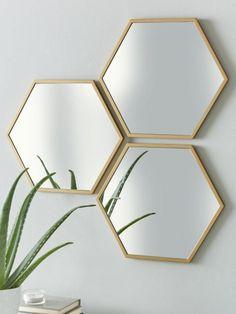 Set of 3 Gold Hexagon Wall Mirrors Hallway Mirror, Hallway Wall Decor, Wall Mirrors Set, Mirror Set, Gold Wall Mirror, Wall Mirror Ideas, Gold Mirrors, Unique Mirrors, Gold Frames