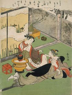Courtesan, Client, and Kamuro with a Love Letter. Ukiyo-e woodblock print. Japan, by artist Suzuki Harunobu Japanese Geisha, Vintage Japanese, Samurai, Geisha Art, Japan Painting, Art Japonais, Japanese Prints, Japan Art, Museum Of Fine Arts
