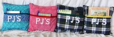 """PJ'S"": prayer journal & scriptures reminder pillows. Make these for someone as a Good Works project."