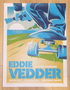 "Eddie Vedder w/ Glen Hansard - silkscreen concert poster (click image for more detail) Artist: Mark 5 Venue: Citibank Hall Location: Sao Paulo, Brazil Concert Date: 5/08/2014 Size: 18 1/4"" x 24"" Editi"