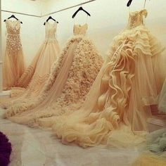 Couture bridal gowns, ballgowns, princess gowns, full skirt, beaded, ruffles, wedding dress - fashion, bridal style