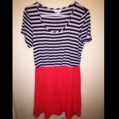 Charming Charlie striped dress Charming Charlie black and white striped dress with red bottom. No damage and in good condition. Charming Charlie Dresses Midi