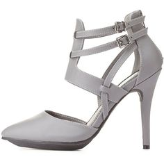 Charlotte Russe Gray Strappy Pointed Toe D'Orsay Heels by Charlotte... ($16) ❤ liked on Polyvore featuring shoes, pumps, heels, footwear, grey, d'orsay pumps, pointy toe pumps, high heel platform pumps, platform shoes and grey platform pumps