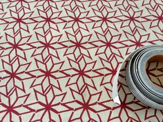 Hand Screen Printed Fabric  Geometric Star in Ruby by OldGreyHouse, $ 16.00