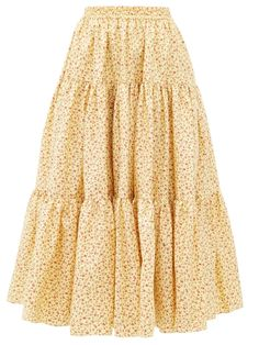 Batsheva Amy Tiered Floral-print Cotton-poplin Midi Skirt In Yellow Yellow Skirt Outfits, Winter Date Night Outfits, Prairie Skirt, Burgundy Skirt, Midi Flare Skirt, Tiered Dress, Tiered Skirts, Skirts For Sale, Mellow Yellow