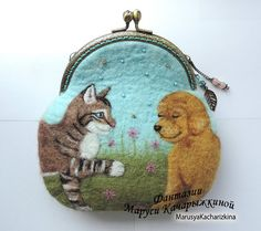 Handmade felted wallet (purse) with dog and cat, Wool pouch, wool wallet, Felted pouch
