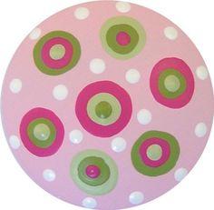 Pink and Green Polka Dots Handpainted Wood Drawer Pull Knob via Etsy