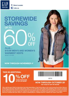 Gap Outlet: 10% off $75 Printable Coupon