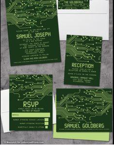 Bar Mitzvah Invitation Set - Computer Circuit Board High Tech - My Jewish Party Wedding Invitation Content, Photo Wedding Invitations, Invitation Wording, Invitation Design, Invitation Templates, Bar Mitzvah Party, Bat Mitzvah, Video Game Bar, Computer Theme