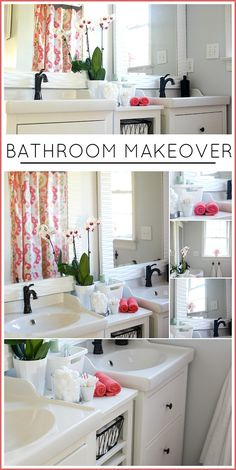 BATHROOM MAKEOVER - Wow. This makeover is gorgeous! White, fresh and airy! LOVE IT!