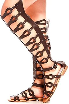 f545d76511b FOREVER LINK FAUX LEATHER MULTI STRAP LOOK BACK ZIPPER OPEN TOE STYLE KNEE  HIGH GLADIATOR SANDALS