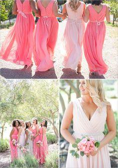 pink bridesmaid dresses @weddingchicks Kaysha Weiner Photographer